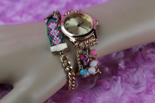 Decorative Gold Chain Knit Floral Fringe & Bead Wrap Around Quartz Wristwatch