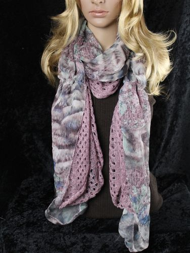 Purple Knit Pattern with Pink, Blue, and Green Floral Valance Style Scarf