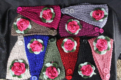 Cozy Warm Single Rose Two Button Knit Stretch Ear Warmers (Assorted Colors)