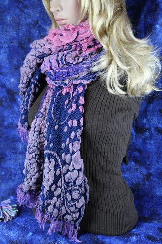 Royal Blue, Pink, Purple, Puffy Floral Fringe Stretch Scarf