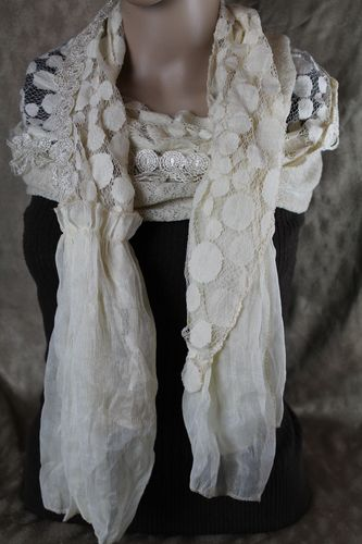 Lacy Ivory Valance Style Scarf with Silk Accents