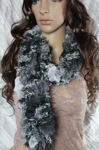 Beautiful Black and Grey Puffy Fringe Stretch Scarf
