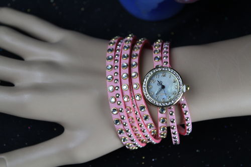 Crystal Studs Pink Faux Leather Wrap Bracelet & Gold Quartz Watch