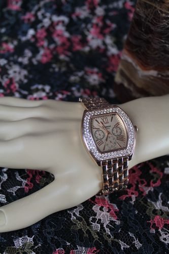 Rose Gold Crystal Frame Rectangular Dial Chronograph Quartz Wristwatch