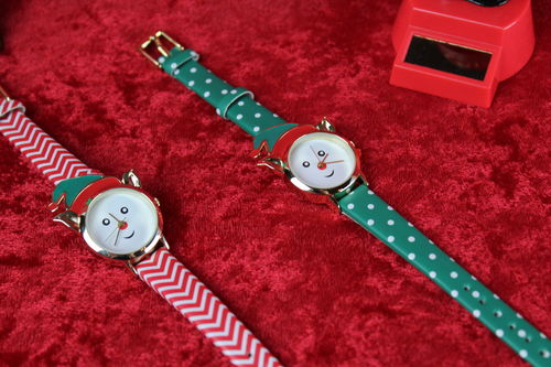 Festive Rudolph Santa Christmas Wrist Watch (Green or Red)