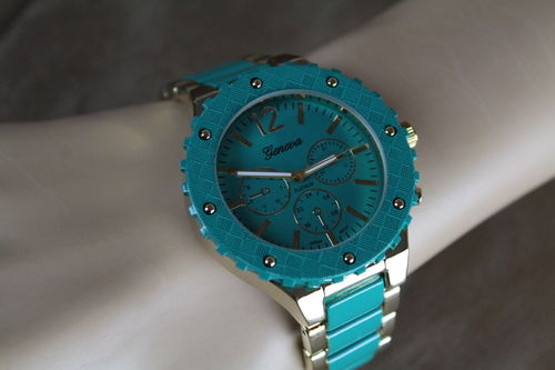 Aqua & Gold Gear Wheel Chronograph Fashion Quartz Watch W/Linked Metal Band