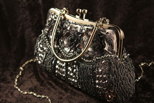 Floral Mesh Clutch Purse Evening Bag w/Silver Trim and Hideaway Chain (Gold or Black/Grey)