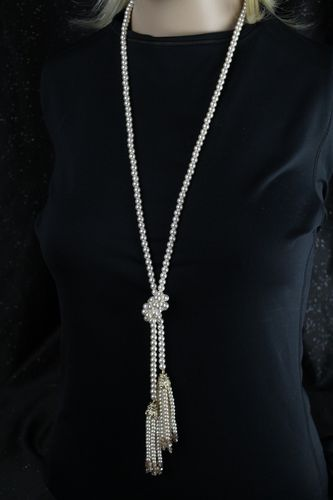 Classic Long Faux Pearl Knotted Fringe Necklace with Gold and Crystal Adornments