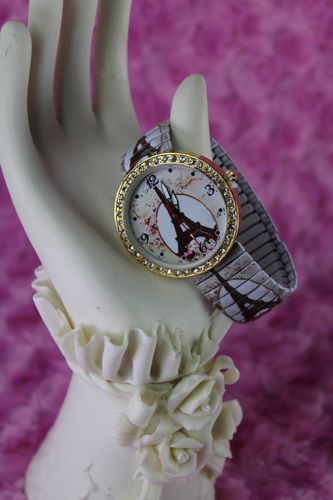 Romantic Floral Paris Eiffel Tower Stretch Watch with Gold and Rhinestone Trim!