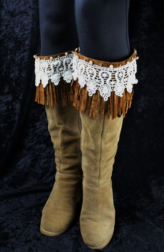 Crystal Accent Lace Suede Fringe BOHO Boot Cuff Toppers (Choose Brown, Grey, Black)