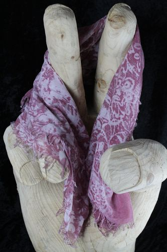 Pretty Faded Pink and White Lacy Floral Pattern Fringe Shawl Wrap Scarf