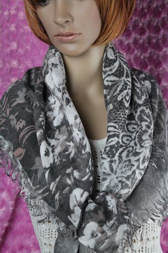 Pretty Faded Grey White and Pink Lacy Floral Pattern Fringe Shawl Scarf Wrap