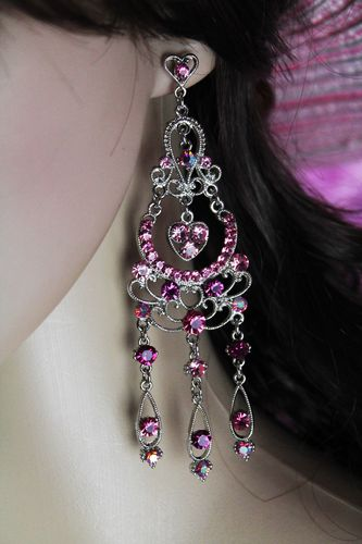 Delicate Silver Filigree Pink Heart Chandelier Dangle Post Earrings