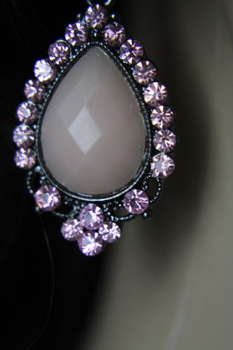 Pale Pink Teardrop Dangle Earrings W/Pink Rhinestone Dotted Black Filigree Frame
