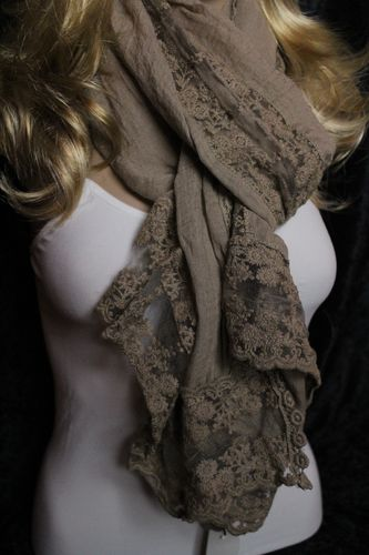 Lovely Floral Lace Rayon Scarf Wrap Shawl (Choose between Dusty Rose and Taupe)