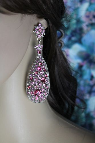 "Silver Floral Pink Crystals Teardrop Dangle Post Earrings 3.5"" Dangle Length"
