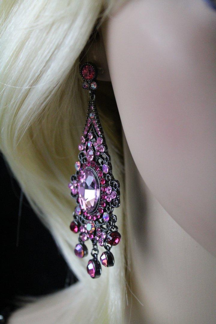 Black Filigree Victorian Ornate Pink Crystals Chandelier