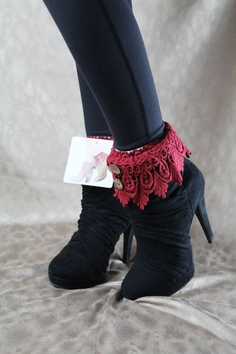 Fashionable and Feminine Knit Lace & Button Accent Boot Toppers-Red