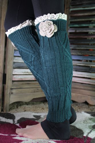New Colors! Lace Top Flower Leg Warmers Boot Toppers Cozy Cable Knit