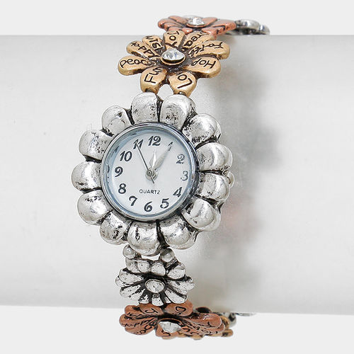 Stamped Flower Stretch Watch Bracelet with Burnished Gold, Silver and Copper with Rhinestones
