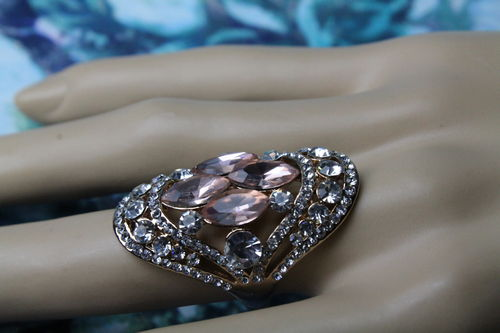 Dramatic Dusty Rose & Crystal Statement Ring w/ Rose Goldtone Trim & Band