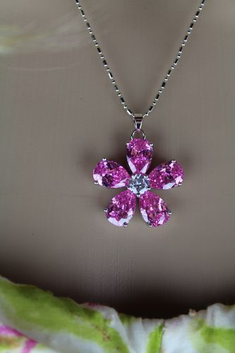Single Flower Pendant Necklace with Rhinestone & Silver Chain (Pink or Multi-Color)