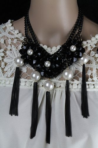 Black & Copper Chain Choker w/ Black Flowers, Faux Pearls,Long Black Fringe w/ Matching Earrings