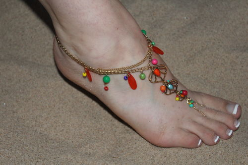 Colorful Acrylic Gem Gold Leaf & Chain Ornate Toe Anklet Foot Chain Slave Ankle Bracelet