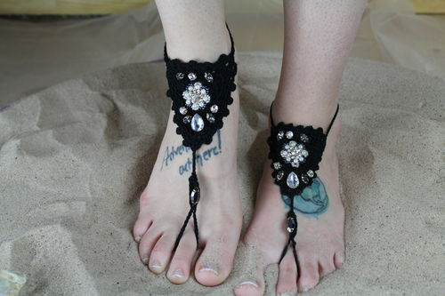 Crochet Faux Pearl & Crystal Beaded Barefoot Sandals (1 pair) (Black or Ivory)
