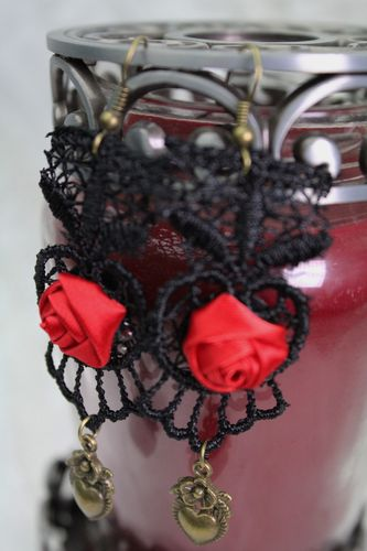 Steampunk Black Lace and Satin Red Rose Goth Victorian Earrings