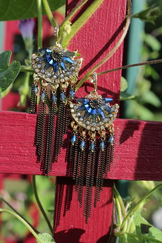"Blue Floral Crystal Rhinestone Fringe Dangle Goldtone Hook Earrings 3.5"" Long"