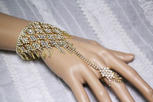 Cocktail Statement Hand Chain Rhinestone Ring and Bracelet Combo