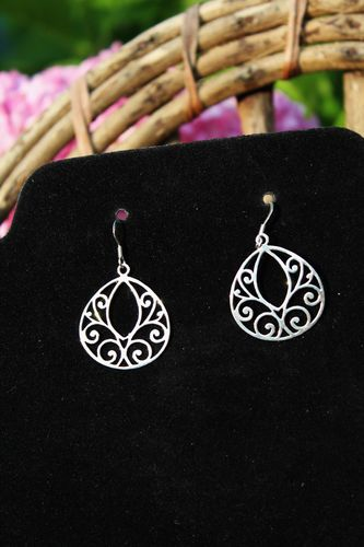 "Boho Gypsy .925 Sterling Silver Swirl Filigree Drop Dangle Earrings 1.5"" Long"