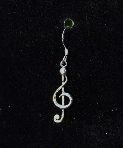 "Dainty .925 Sterling Silver Clef Note Earrings 1.25"" Long"