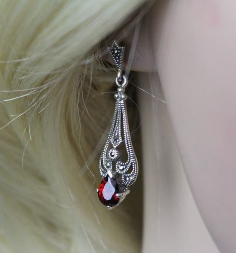 "Victorian Steampunk Sterling Silver Earrings w/ Marcasite and Synthetic Garnet (1.5"" Long)"