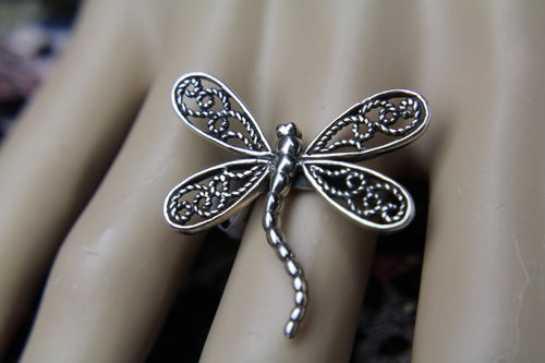Beautifully Detailed Large Sterling Silver DragonFly Statement Ring