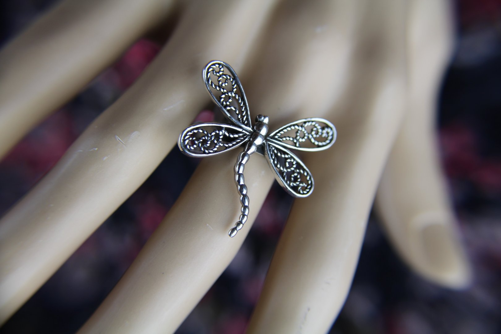 Beautifully Detailed Large Sterling Silver DragonFlyStatement Ring