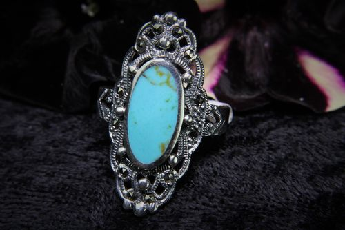 Elegant Sterling Silver Victorian Ring with Marcasite and Synthetic Turquoise