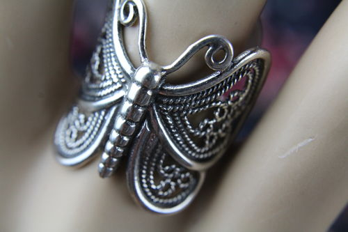 Boho Gypsy Sterling Silver Ornate Filigree Statement Butterfly Ring