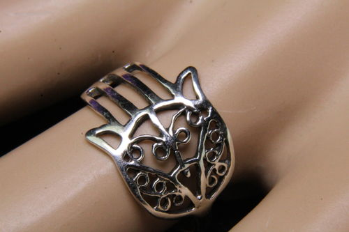 Lovely Dainty Filigree Sterling Silver Hand Of Fatima Hamsa Ring