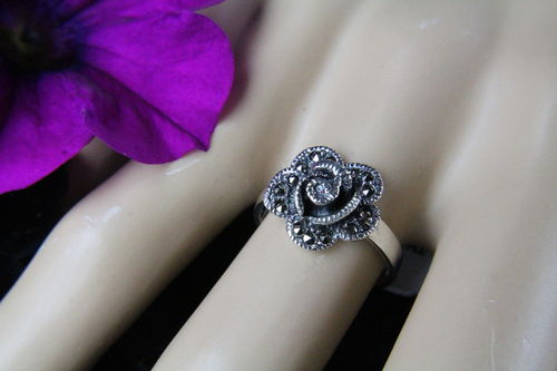 Sterling Silver & Marcasite Goth Victorian Steampunk Detailed Rose Flower Ring