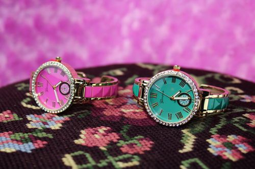 Gold and Fuschia or Aqua Crystal Bezel Chronograph Quartz Cuff Wristwatch Watch