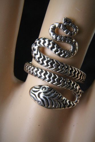 Boho Gypsy Hippie Sterling Silver Wraparound Serpent Snake Statement Ring