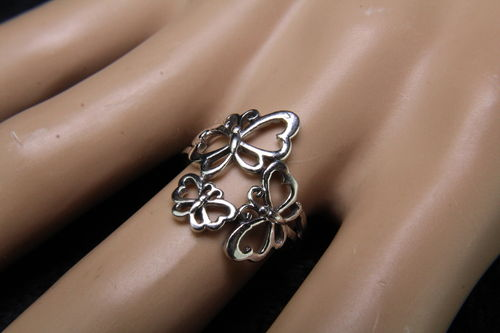 Delightful & Delicate Vented Sterling Silver Butterfly Trio Fashion Ring