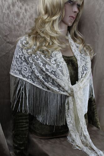 Lovely Ivory Silky Floral Flower Lace Fringe Shawl Wrap Scarf