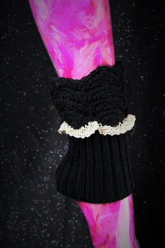 Gothic Scalloped Leg Warmers/ Boot Toppers- Patterned Black W/Ivory Lace Trim