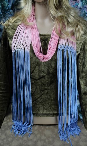 Pretty Pastel Thin Silky Ombre Rope Fringe Necklace Scarf (2 Colors Available)
