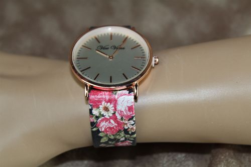Feminine & Flowery Romantic Floral Print Faux Leather Band Quartz Watch