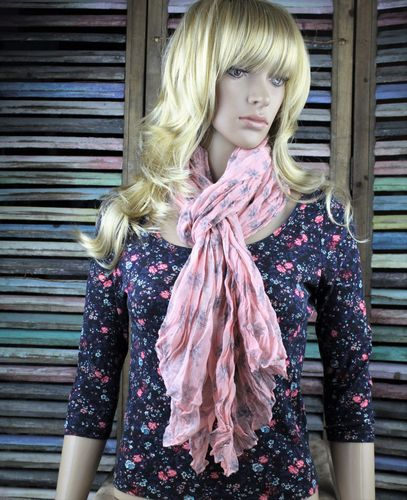 Peachy Pink & Grey Helm Nautical Pattern Crinkle Pleated Lightweight Scarf