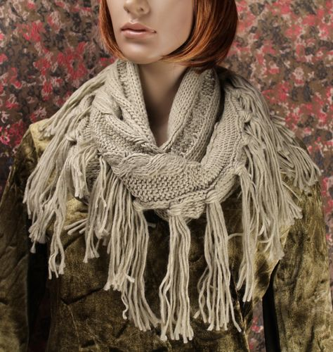 Shabby Chic Rag Fringe Cable Knit Infinity Scarf - Beige or Grey